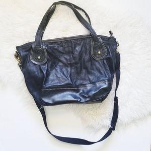 The Sak black leather multi strap large crossbody